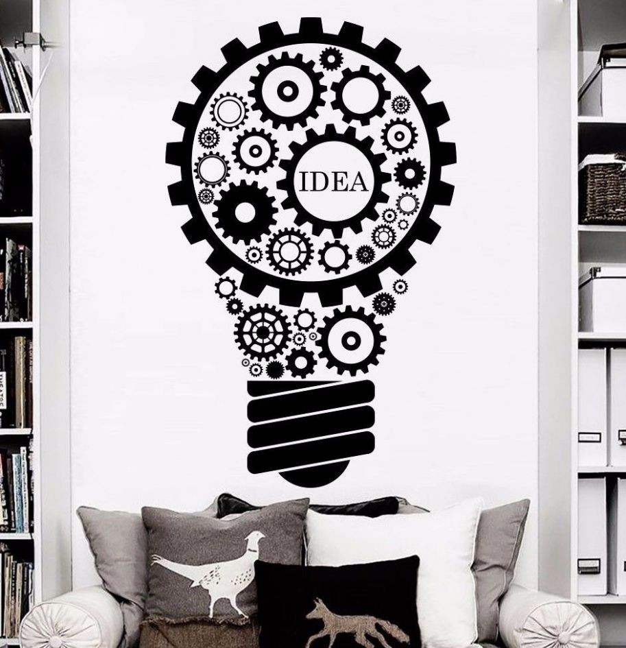 US $9.9 9% OFF|Removable Wall Decals Light Art Gears Idea Decoration  Bedroom Home Window Stickers Art Vinyl Wall Mural A 9|wall mural|removable  ..