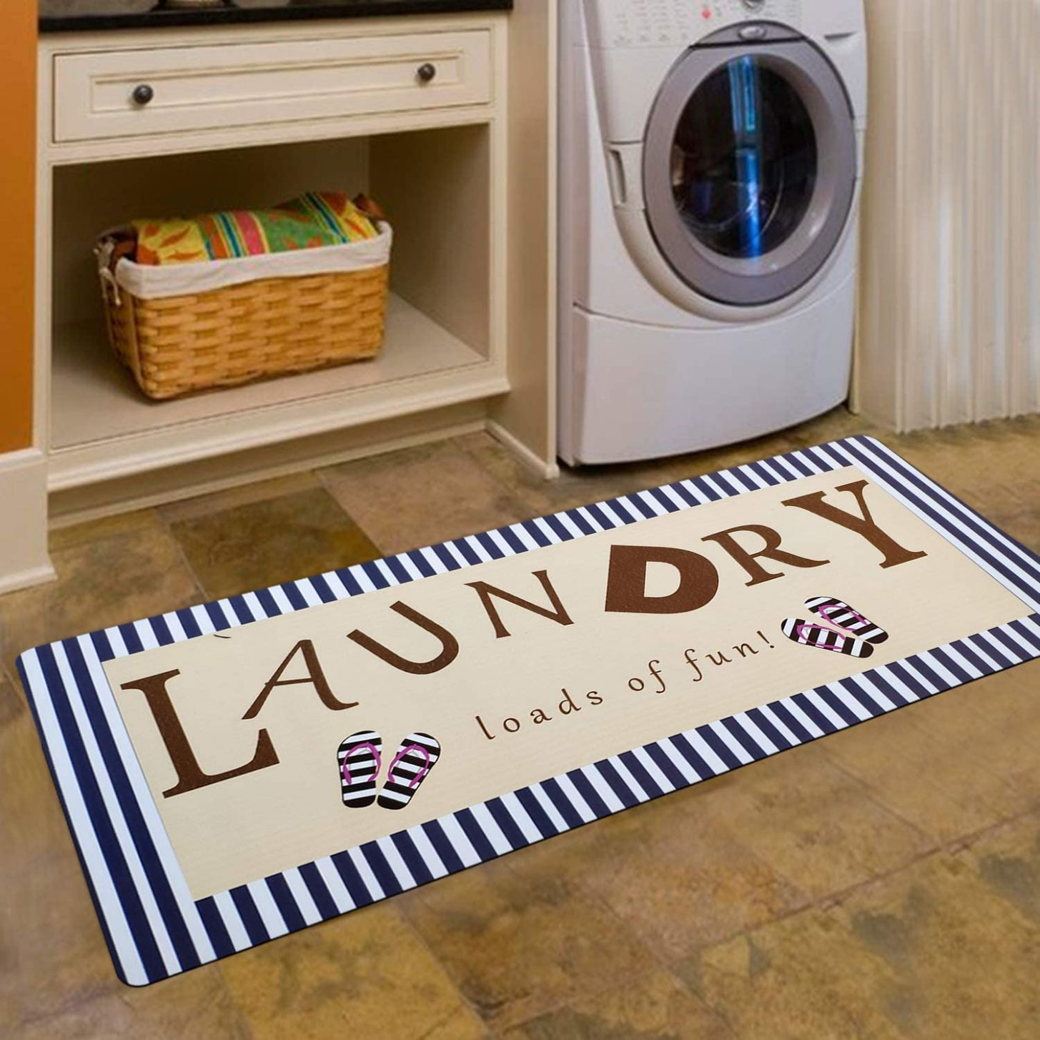USTIDE Navy Striped Rug Laundry Room Decor Washroom Mudroom Boot Mat  Durable and Soft Long Carpet for Kitchen (11''X11'')