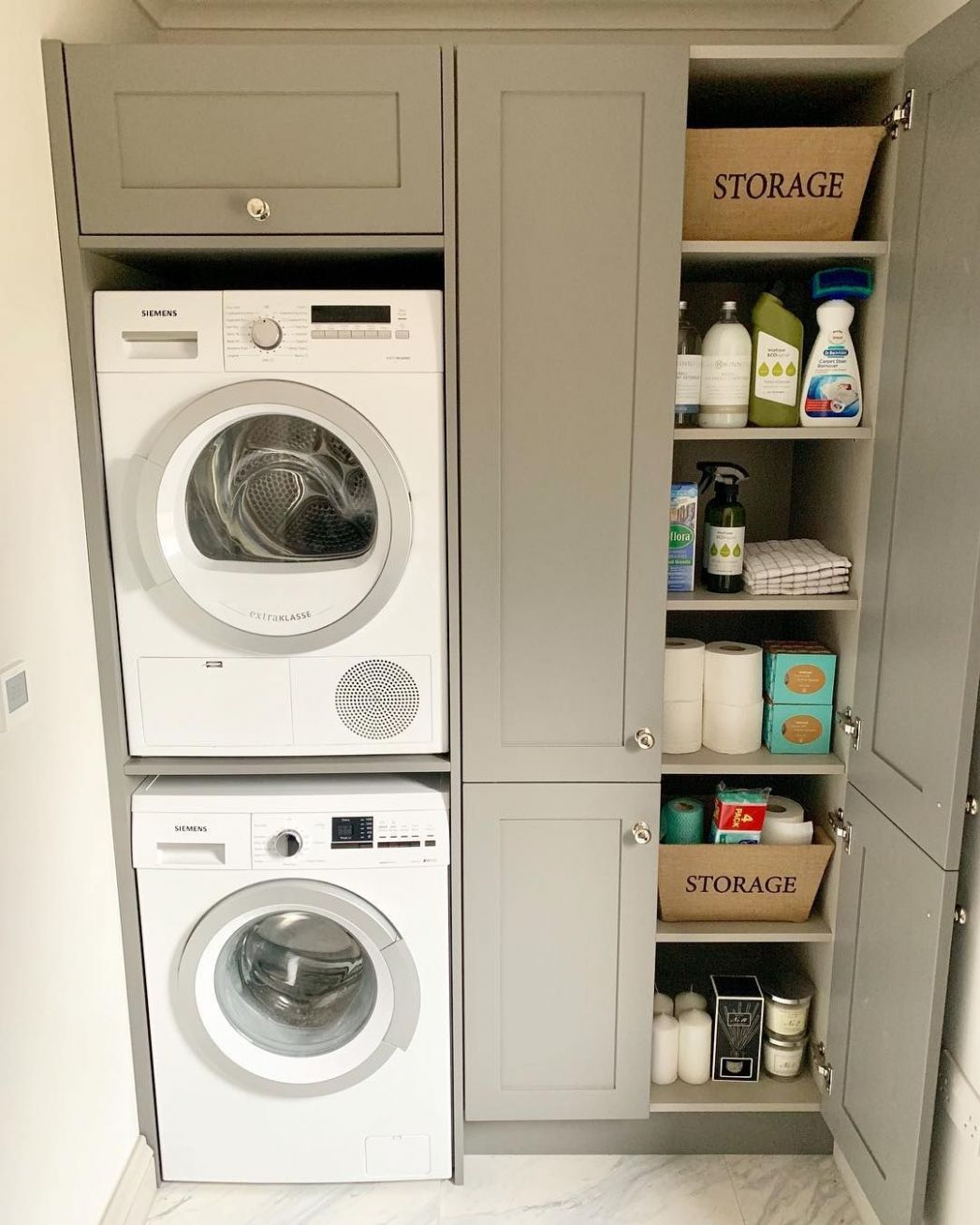 Utility Room - stacked washer & dryer next to pantry | Perfect ..