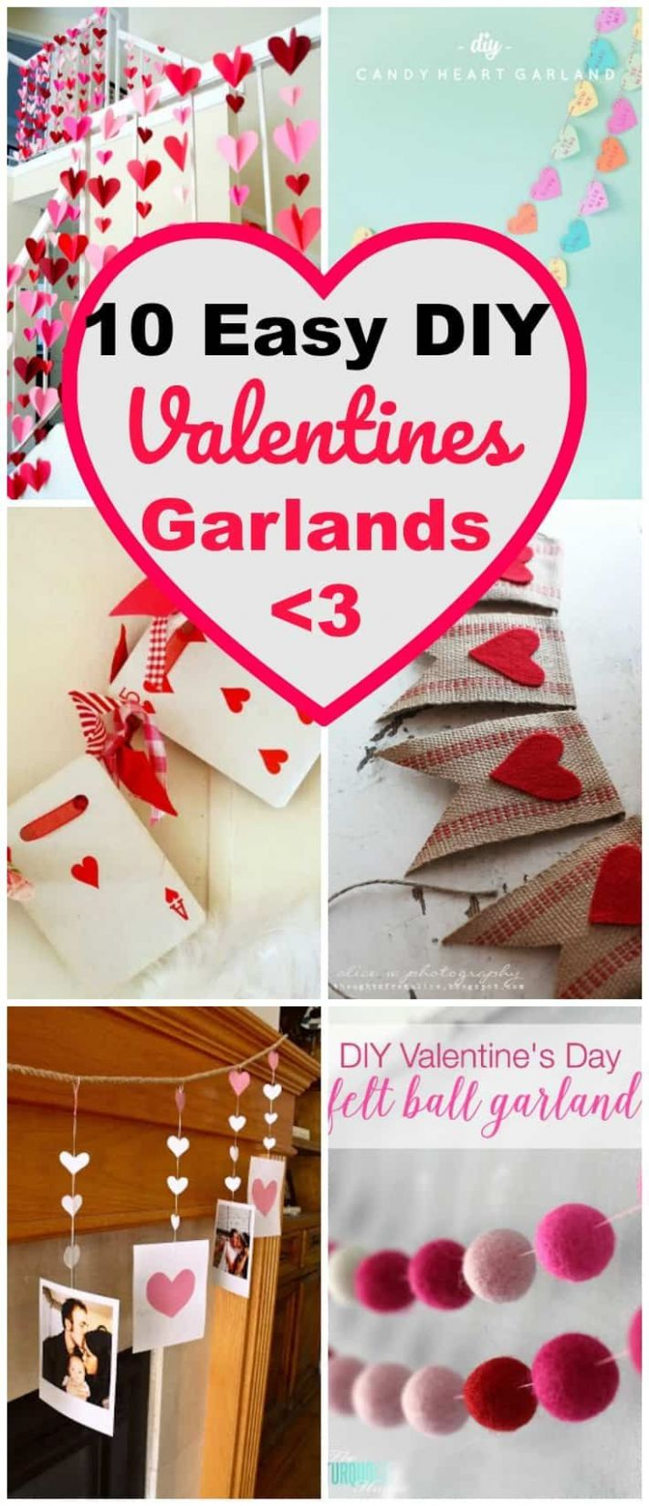 Valentines Day DIY Garlands ~ 11 Easy Garland Wall Art Ideas for ...