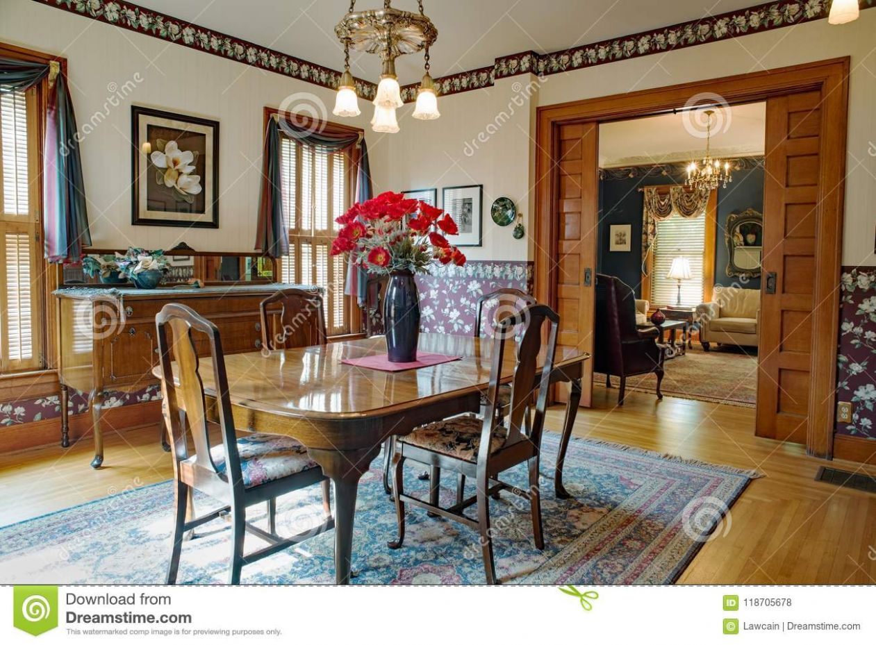 Victorian Dining Room With Pocket Doors Editorial Stock Photo ..