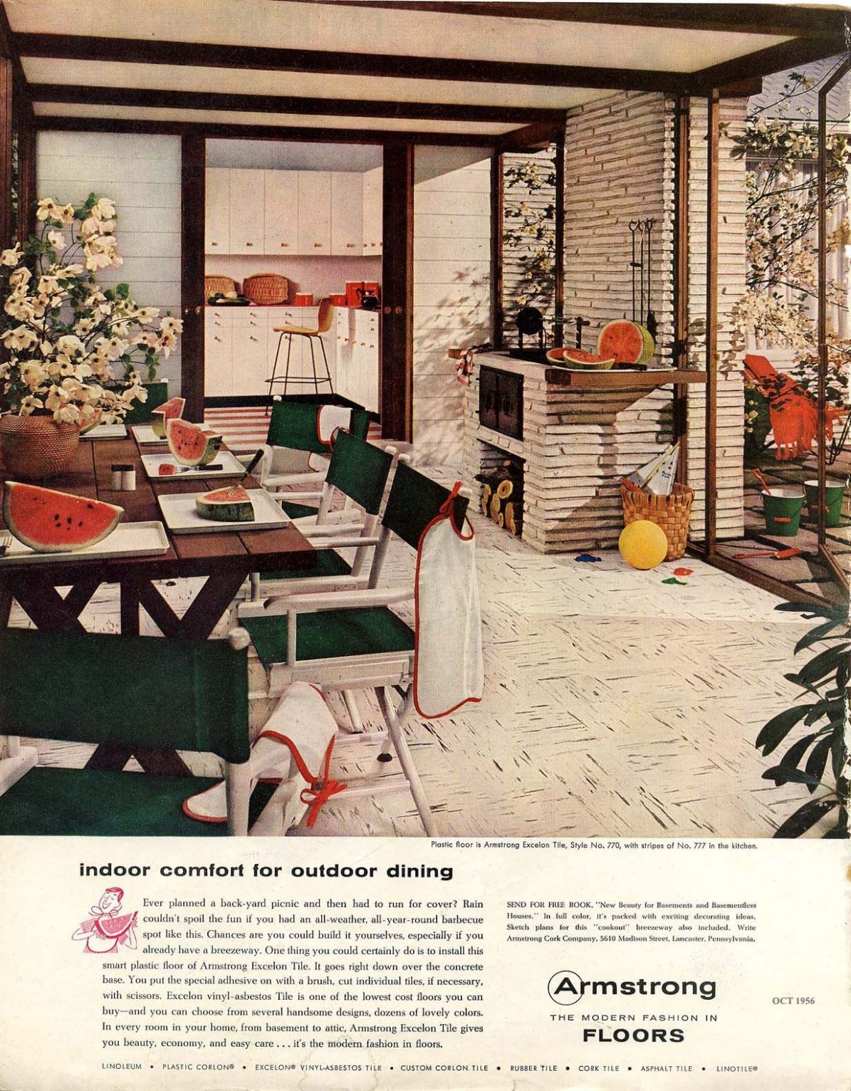 Vintage Armstrong Tile Ad. Great Mid Century Modern sunroom dining ..