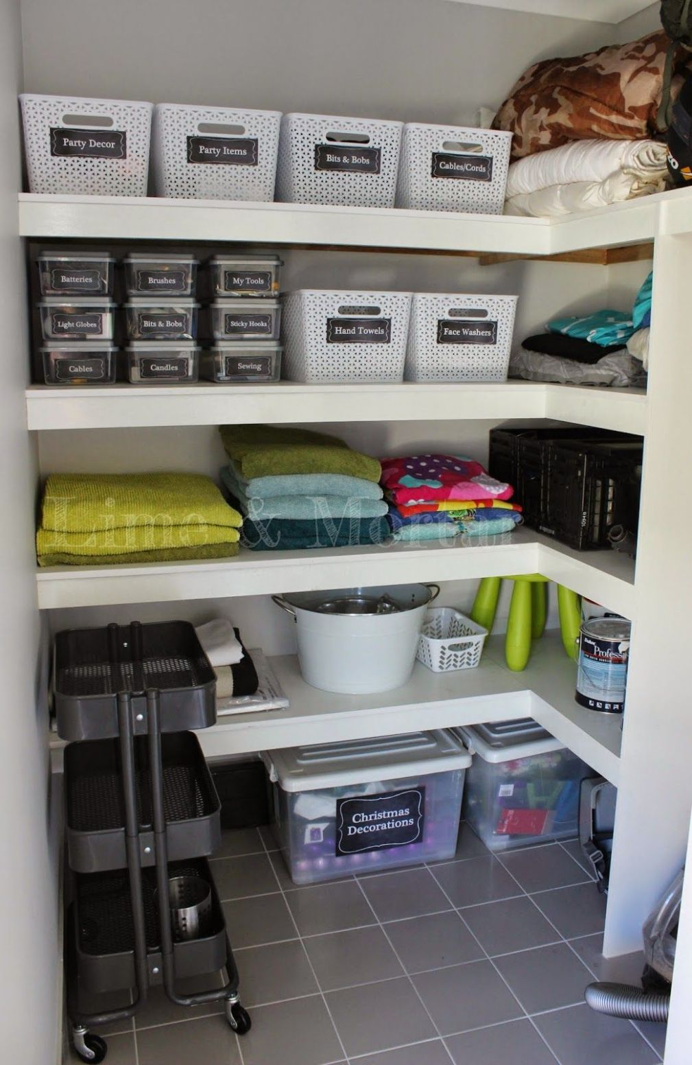 Walk-in-Linen: Theres also a section for ironing board/vacuum/mop ..