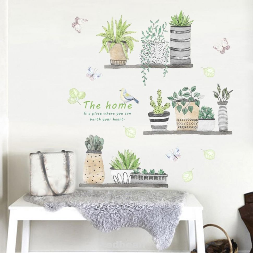 Wall Sticker Garden Plant Flower Butterfly Home Decor Kids Bedroom  Decorative - home decor shopee