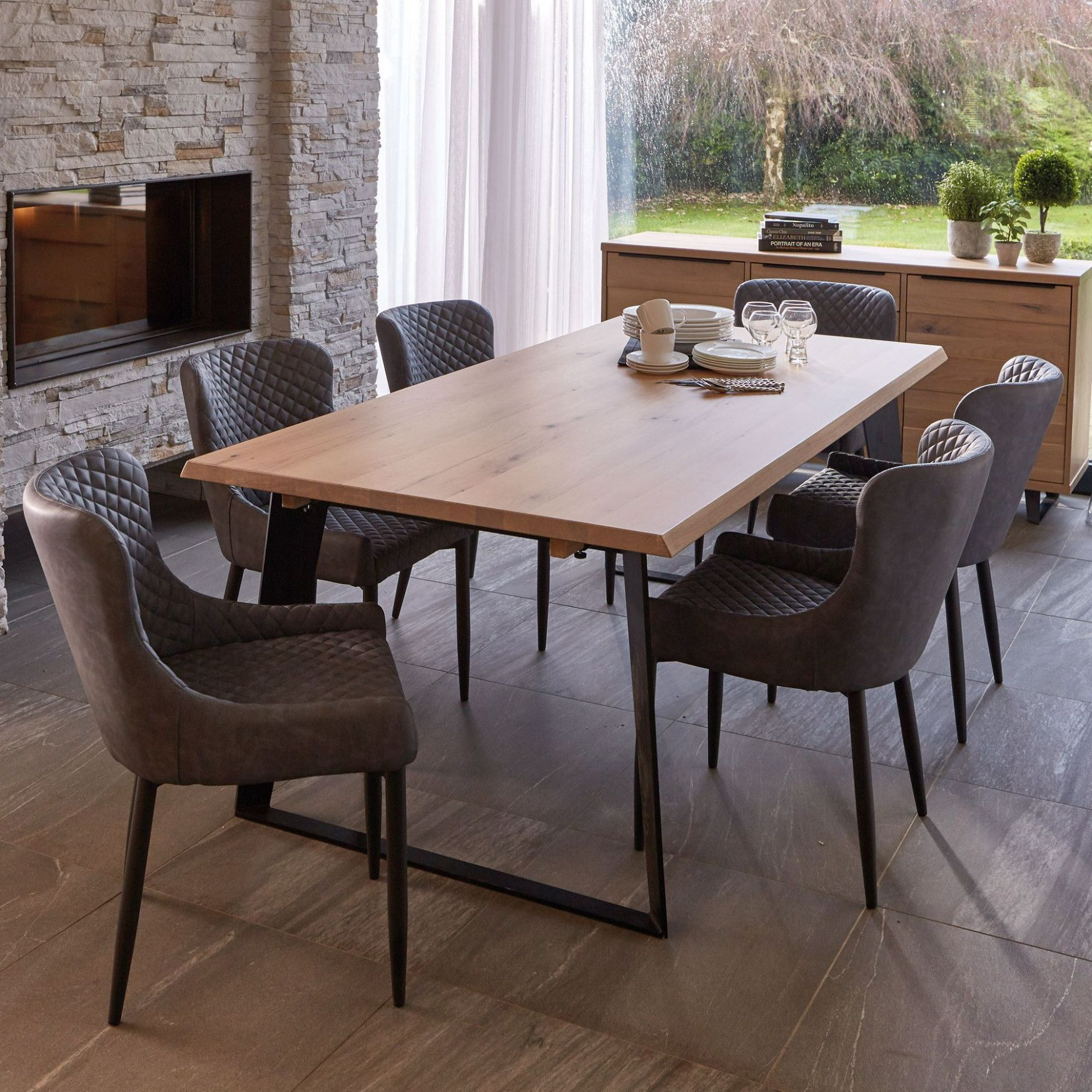 Weldon Dining Table, Extension Leaf & 10 Toby Brown Dining Chairs ...