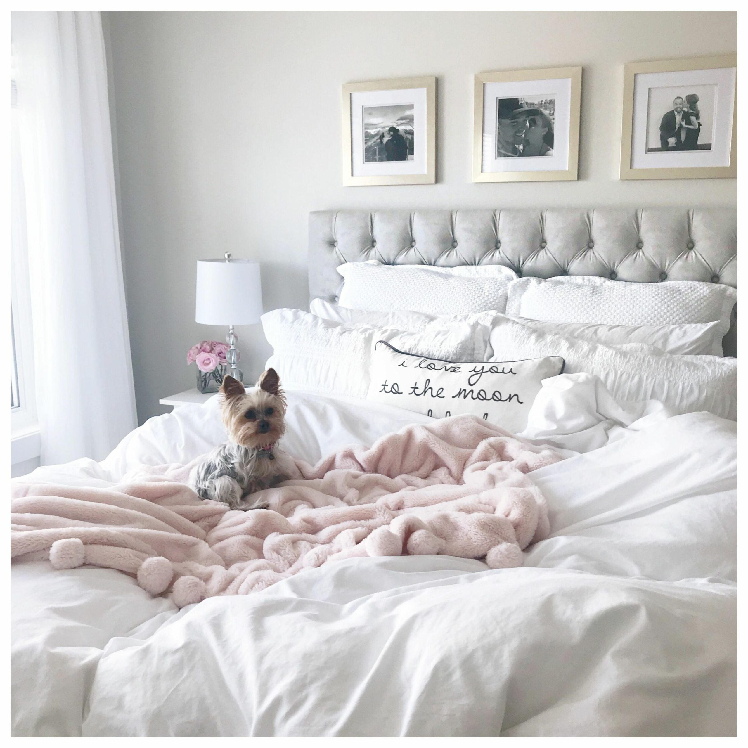 White & Light Grey Bedroom / Pink & Gold Accents   Pink bedroom ...