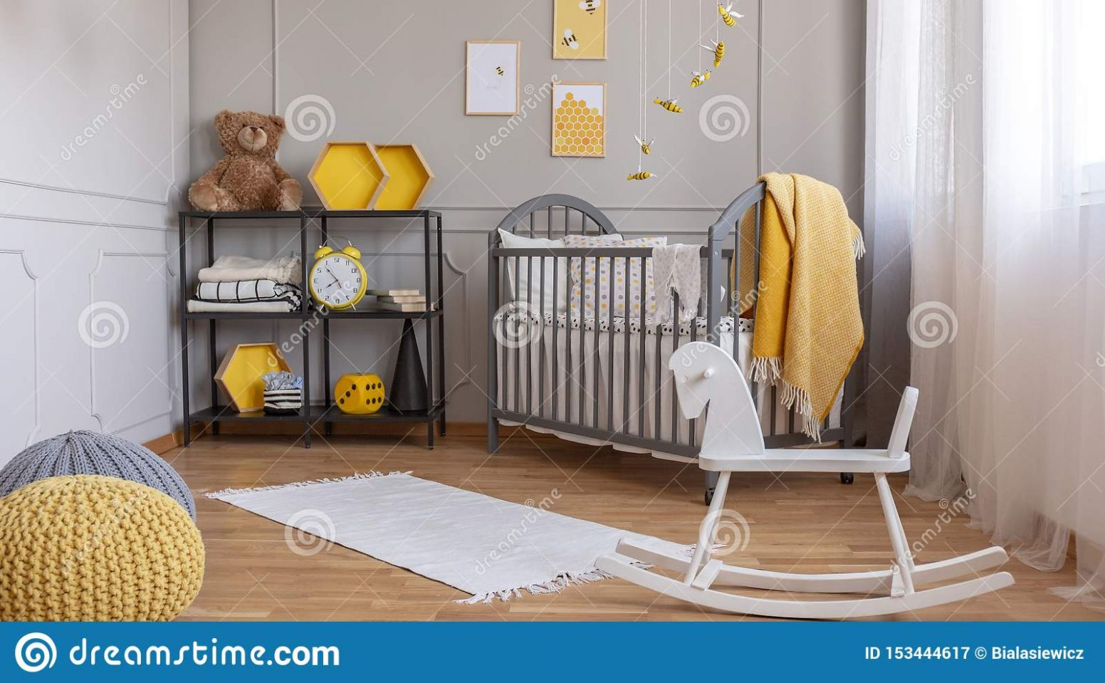 White Rocking Horse In Elegant Grey And Yellow Baby Room With ..