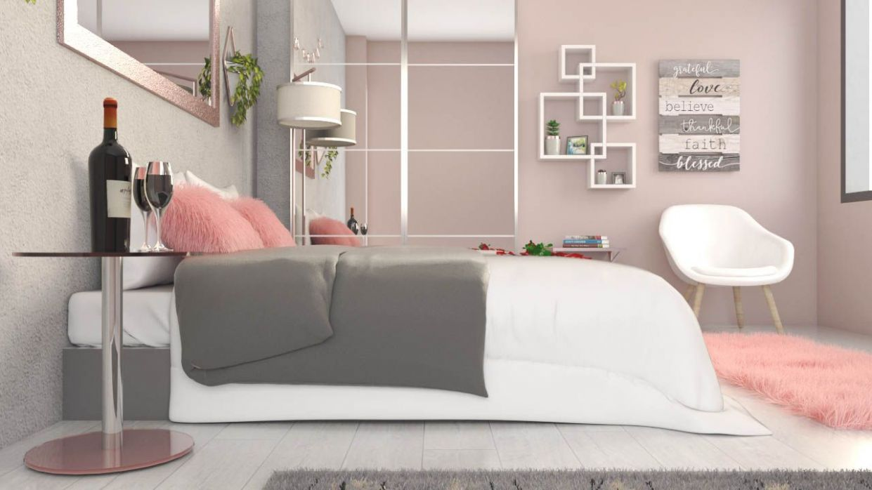 White, Rose Gold and Grey Bedroom Ideas - roomdsign