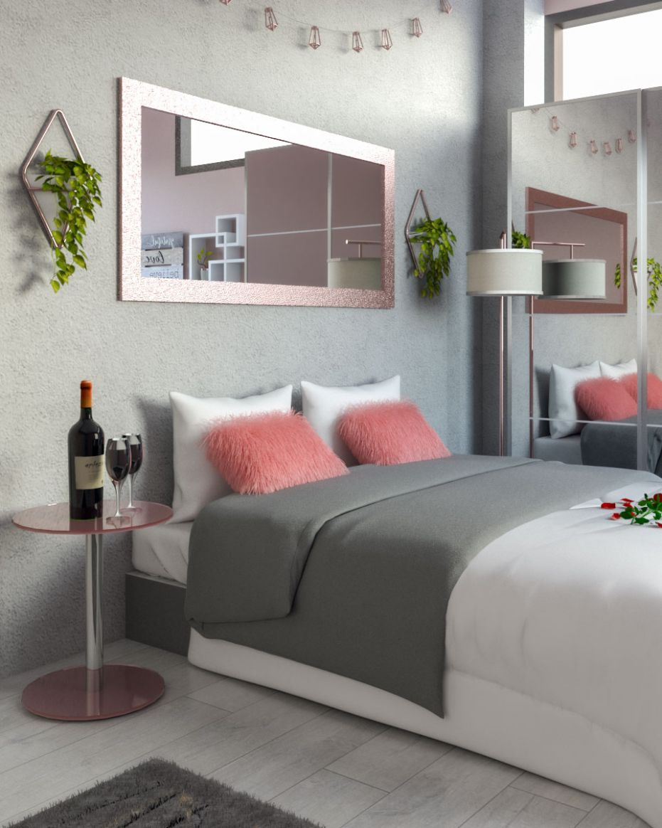 White, Rose Gold and Grey Bedroom Ideas - roomdsign.com