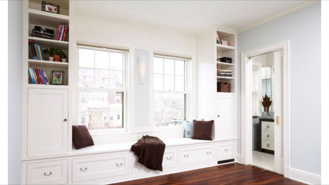 Window bench storage with two separate Windows | Built in seating ...