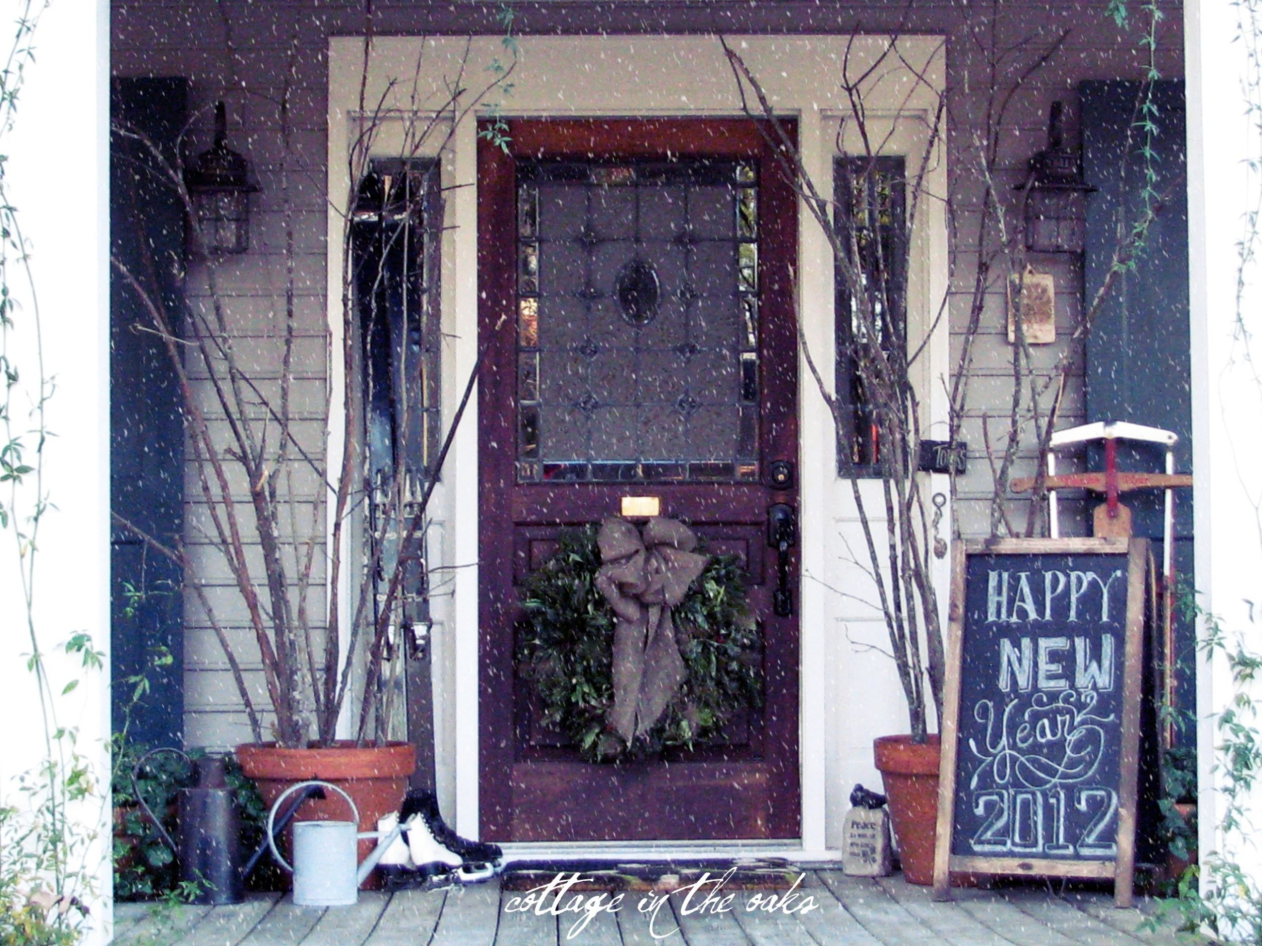 Winter Front Porch - Cottage in the Oaks - front porch decor ideas for winter