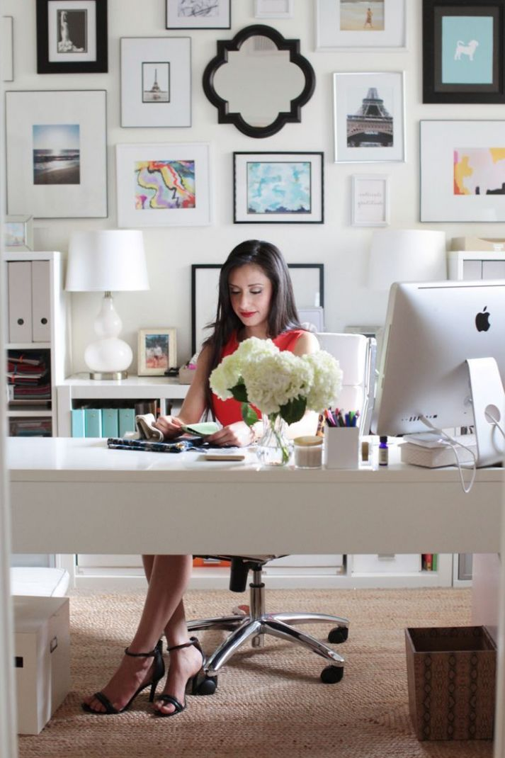 Woman at white theme desk #office, #gallery-wall, #artwork ..