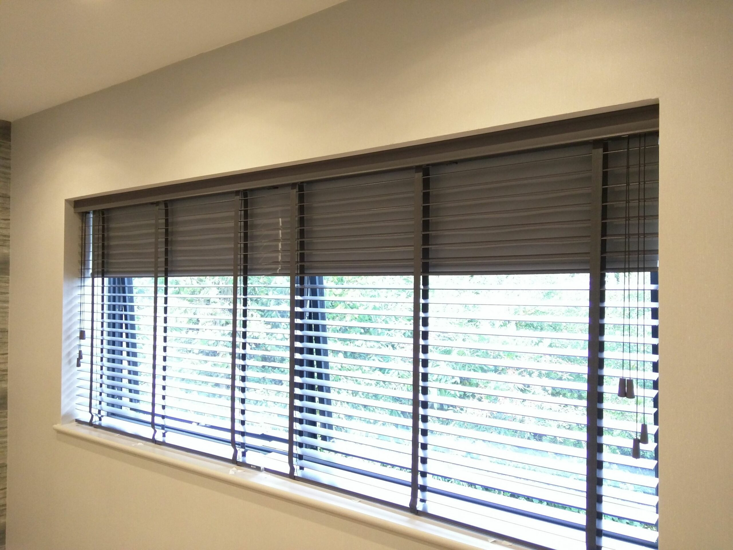 Wood venetian blind with blackout roller blind behind | Fitted to ..