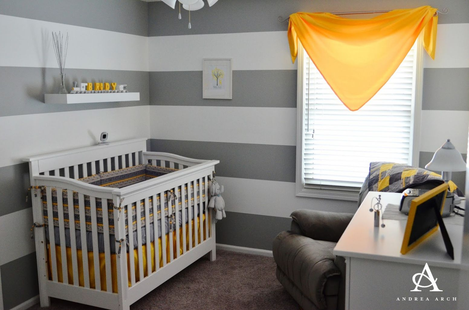 Yellow + Grey Gender Neutral Nursery - Project Nursery - baby room yellow and grey