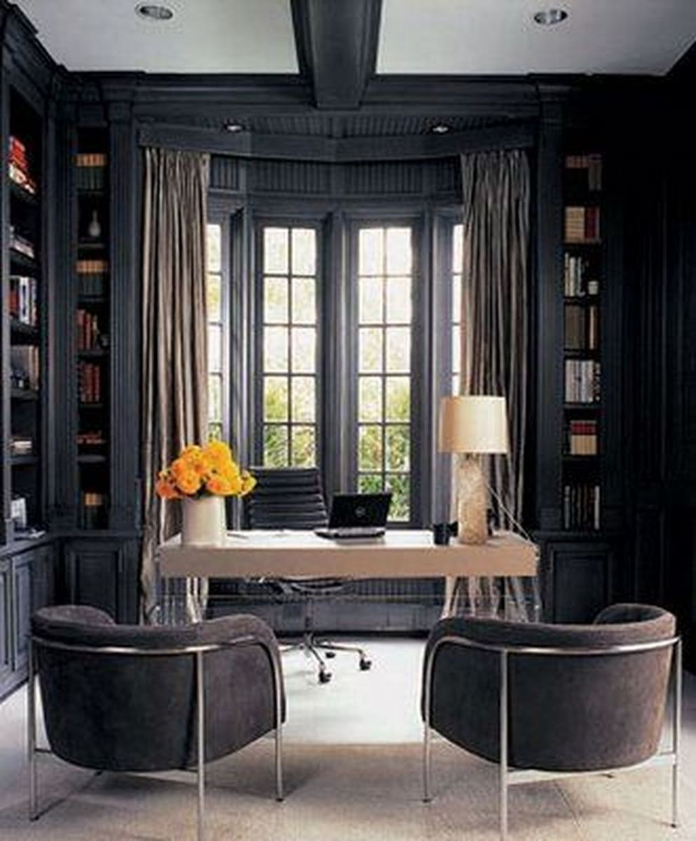 11+ Best Home Office Ideas With Black Walls - TRENDECORS - home office ideas black