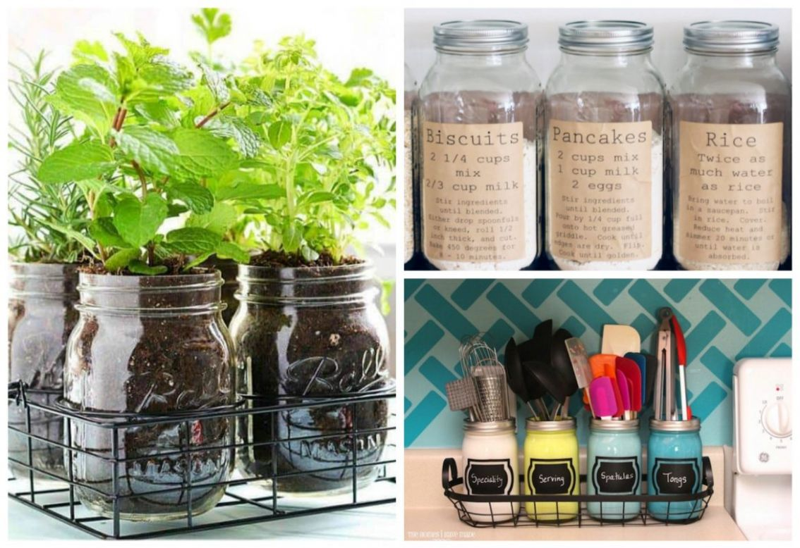 11 Creative Mason Jar Kitchen Storage Ideas - Green Cleaning Hacks - kitchen glass jar ideas