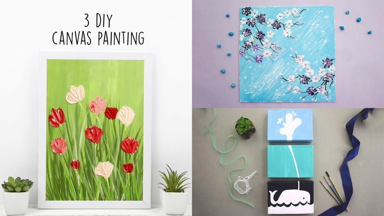 12 DIY Canvas Painting | Acrylic Painting | Home Decor - diy home decor paintings
