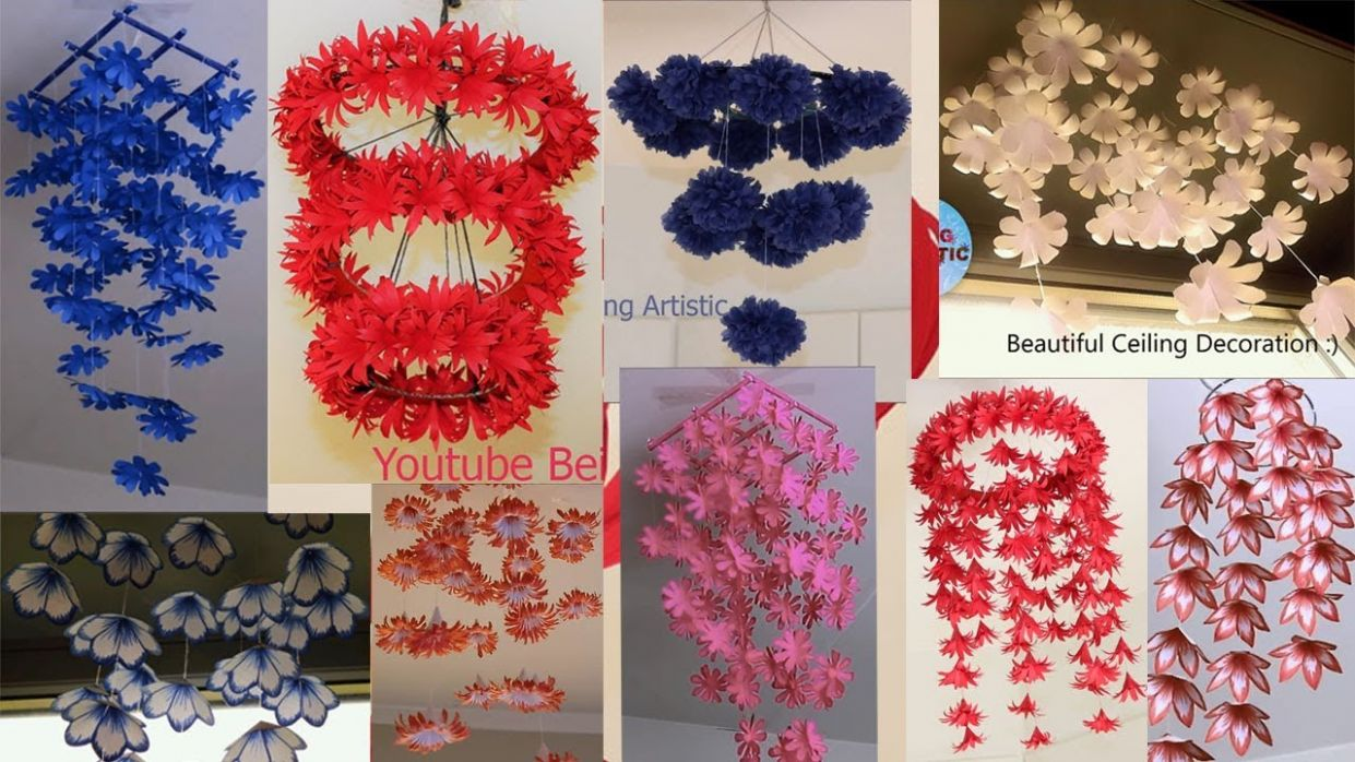 12 DIY Home Decorations - Hanging Flowers - Paper Craft - Home Decoration  ideas