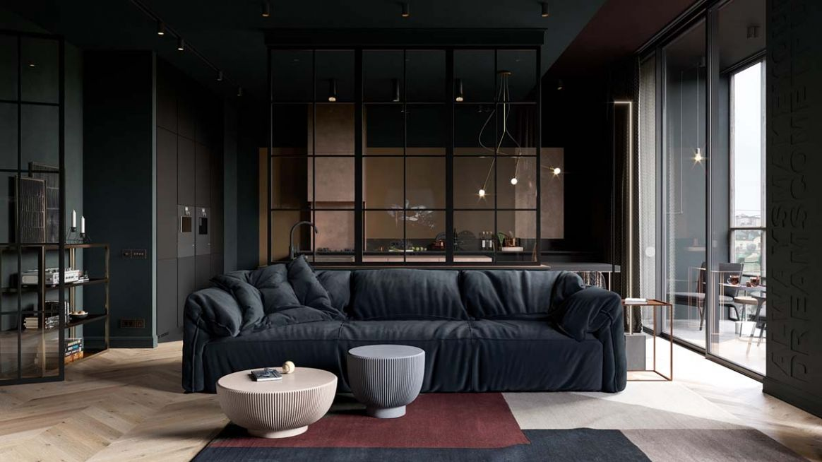 8 Small Apartment Layouts With Deliciously Dark Decor Ideas - living room ideas dark