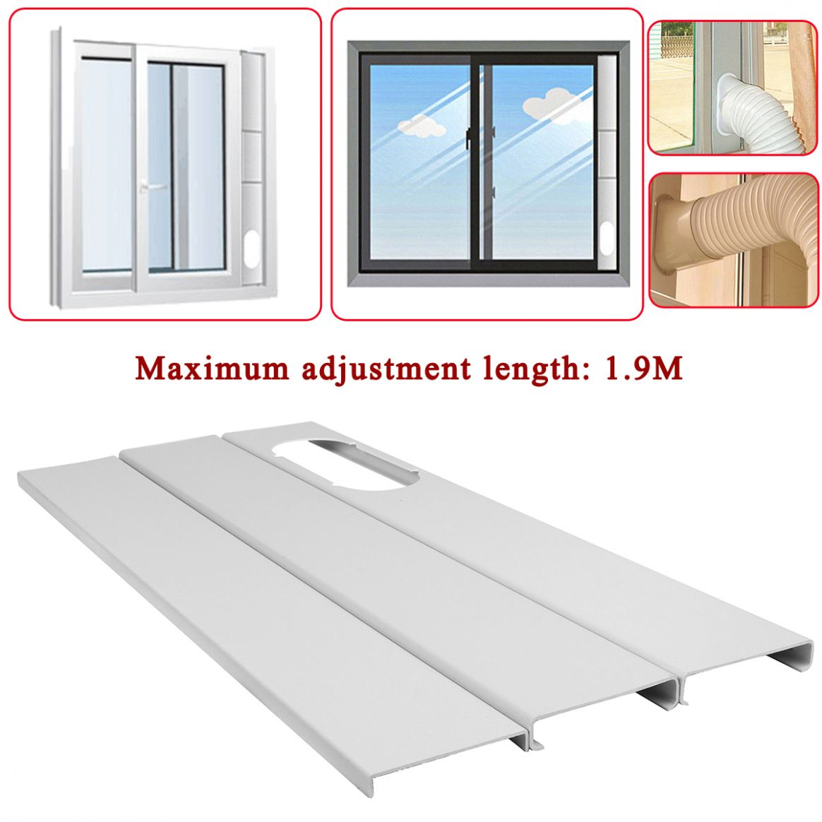 8Pcs Adjustable 8.8M Air Conditioner Window Slide Plate Exhaust ..
