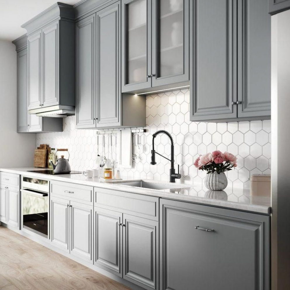 9+ Ways To Style Grey Kitchen Cabinets - kitchen ideas with gray cabinets