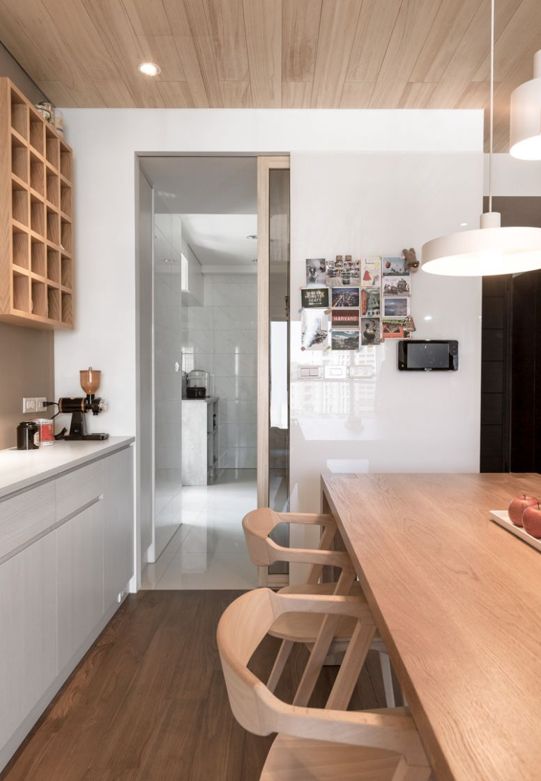 A Modern Apartment Celebrates the Look of Natural Wood - apartment design natural