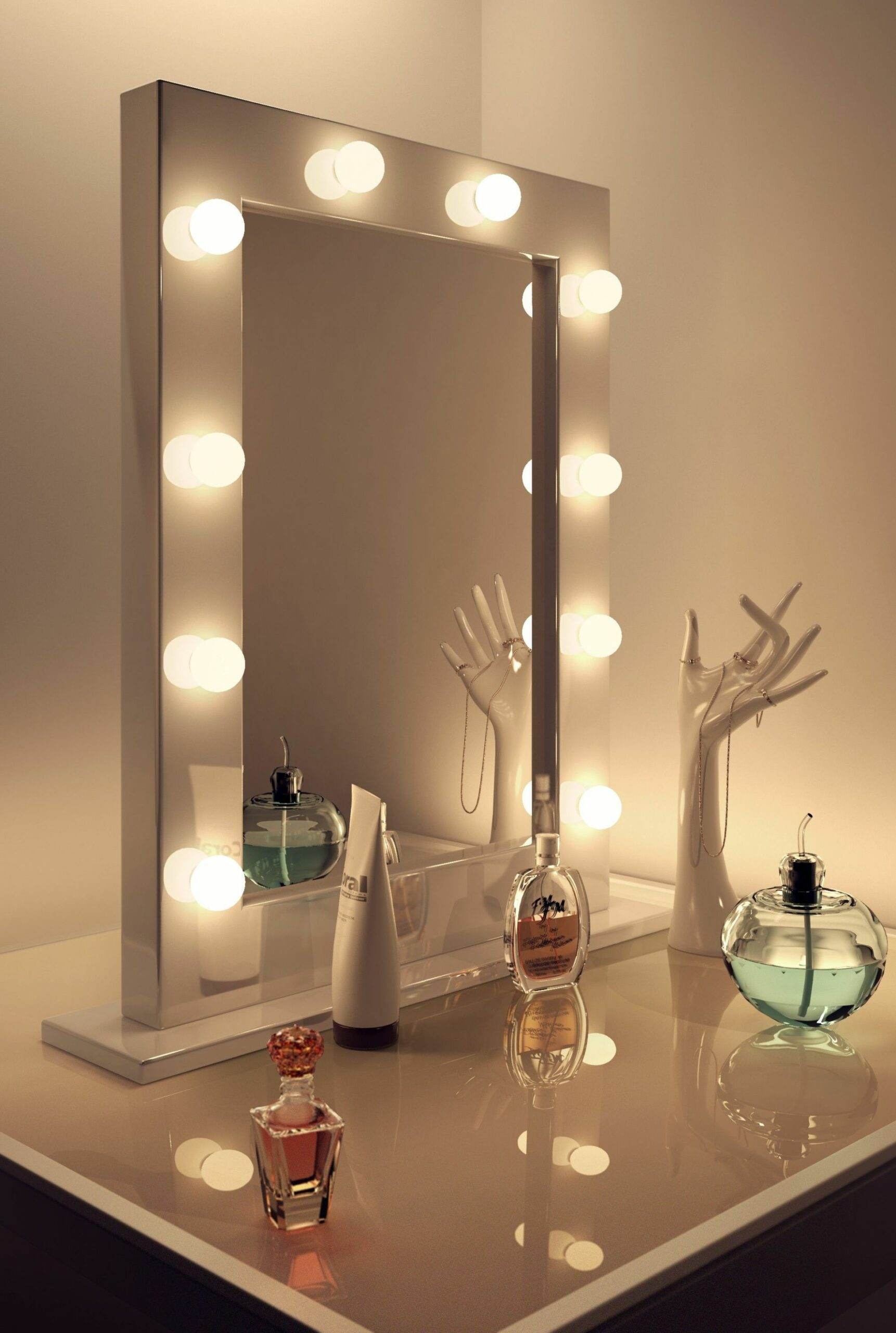 Anastasia White High Gloss Mirror (Medium) | Dressing room mirror ...