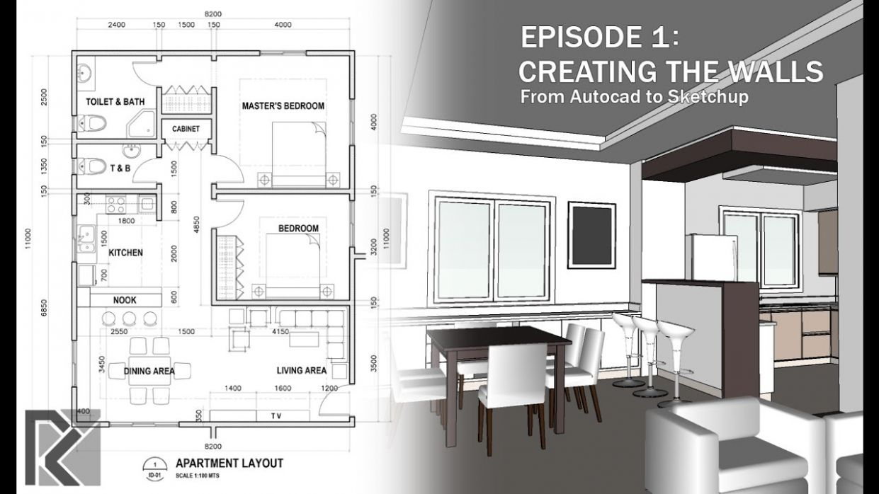 Apartment Autocad to Sketchup - Part 9