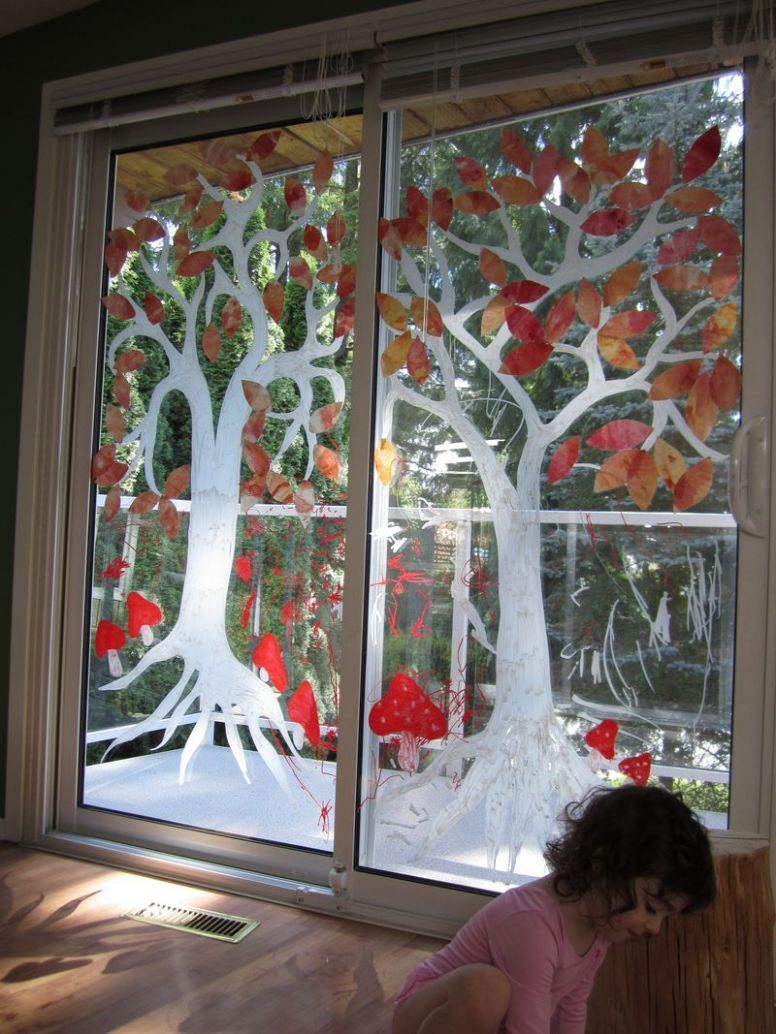 Autumn Tree Window Painting   Glass painting designs, Painting on ..