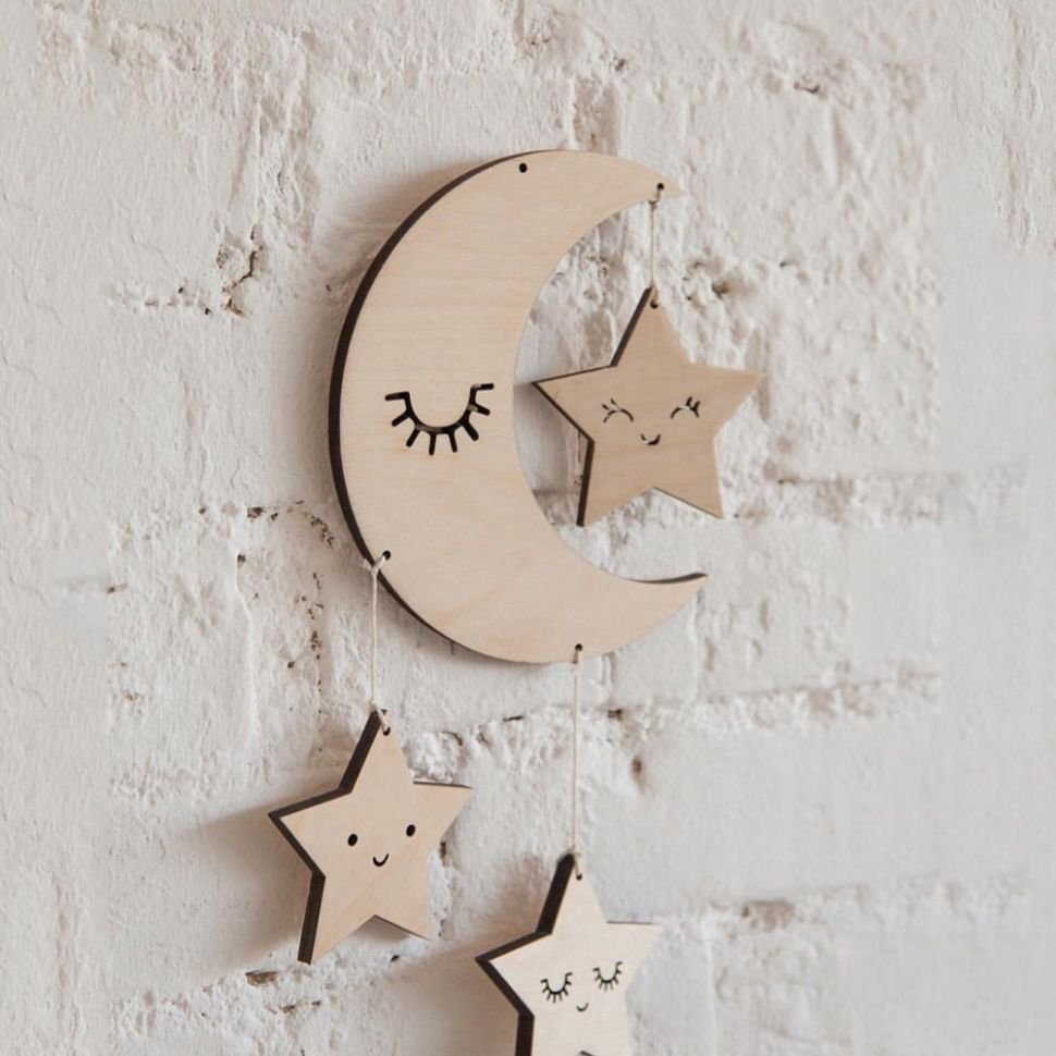 Baby Room Crafts Pendant Ornaments Decoration Wooden Moon Star Photography  Props Nursery Decor