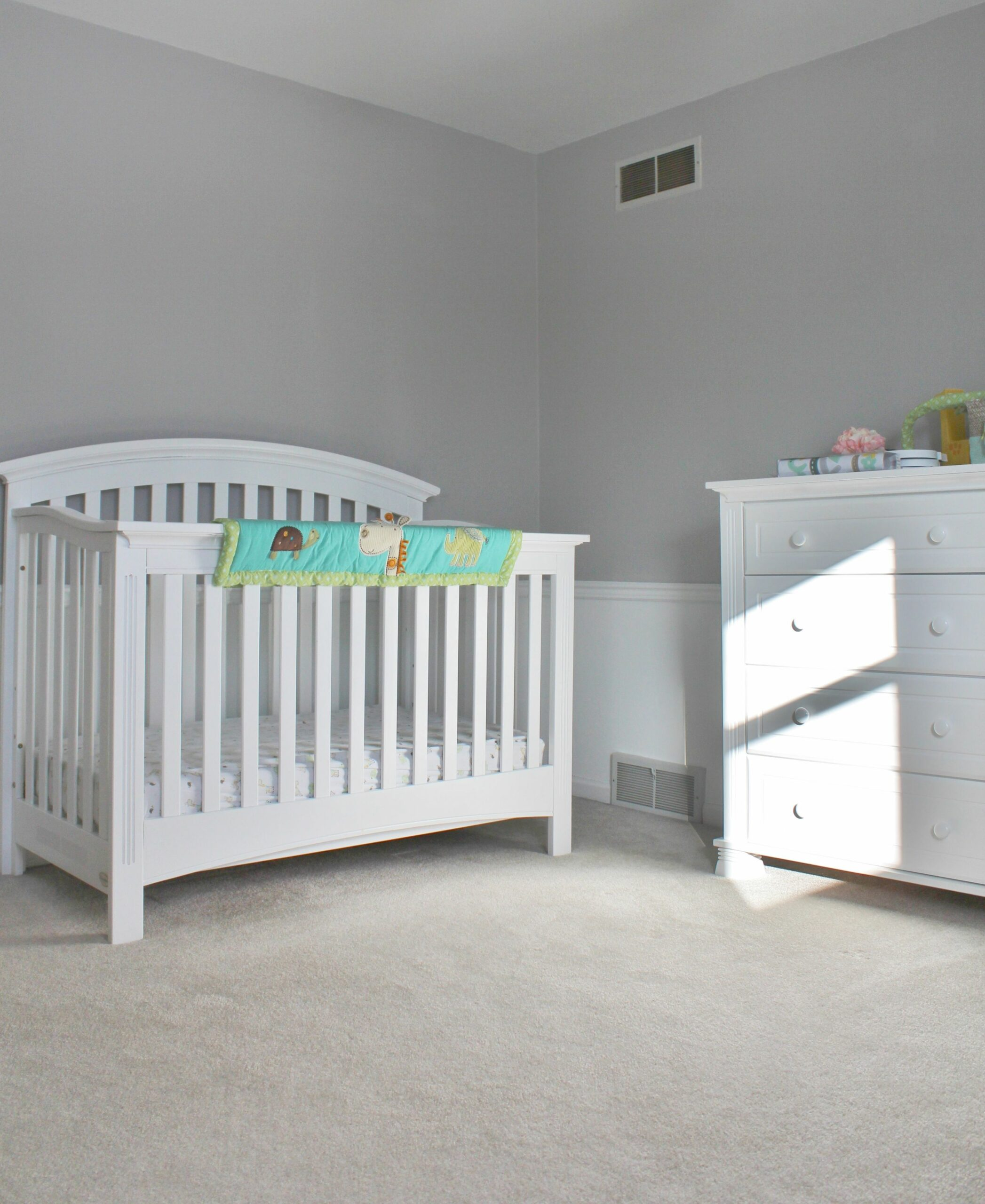 Baby's room. Paint: Sherwin Williams, Light French Grey (top). S ...