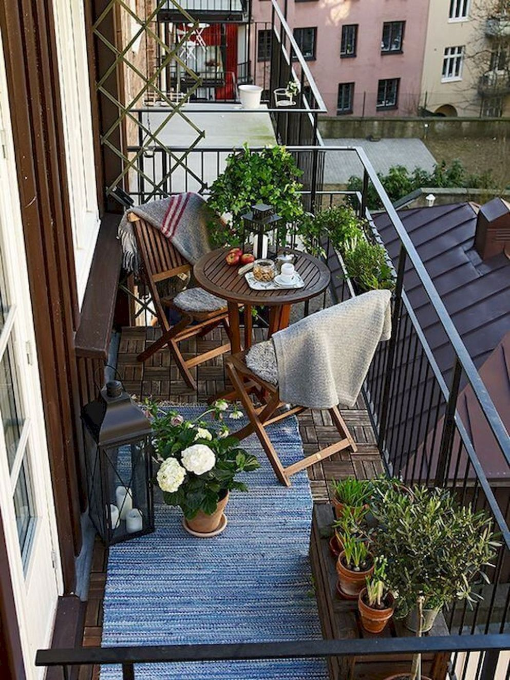 Balcony ideas. Small budget. A couple throws and a rug to give any ..