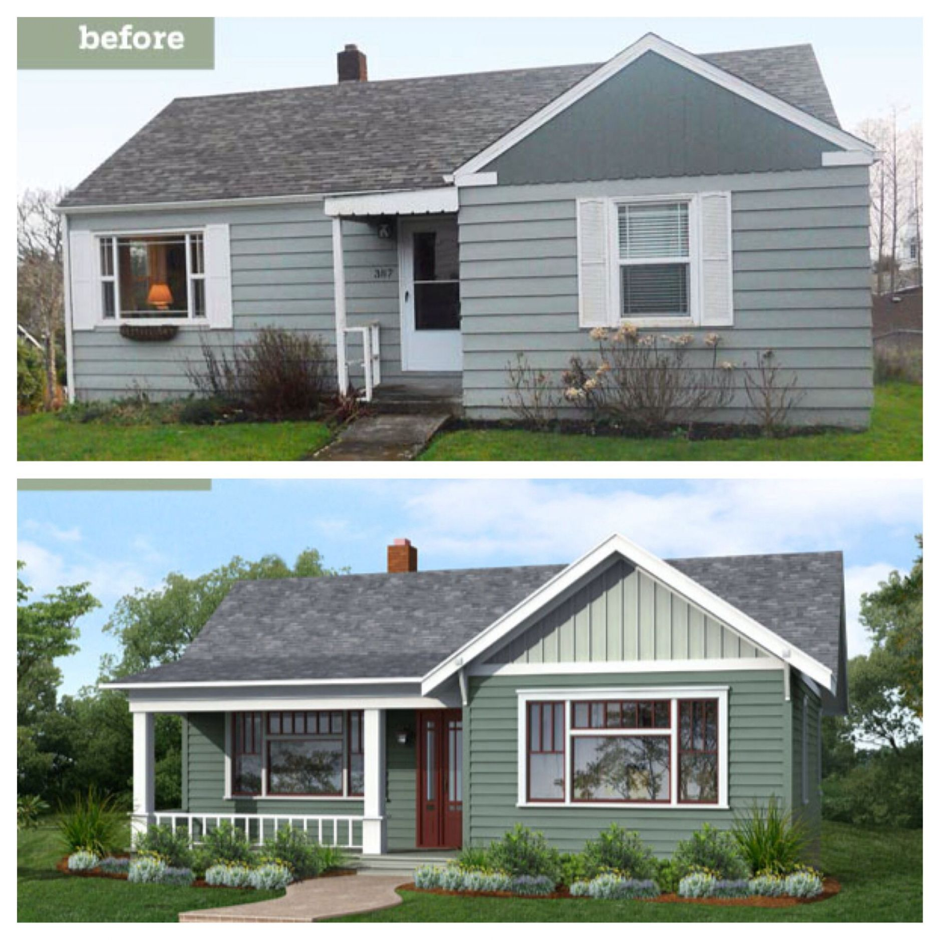 Before and after curb appeal. Add front porch. Expand windows ...
