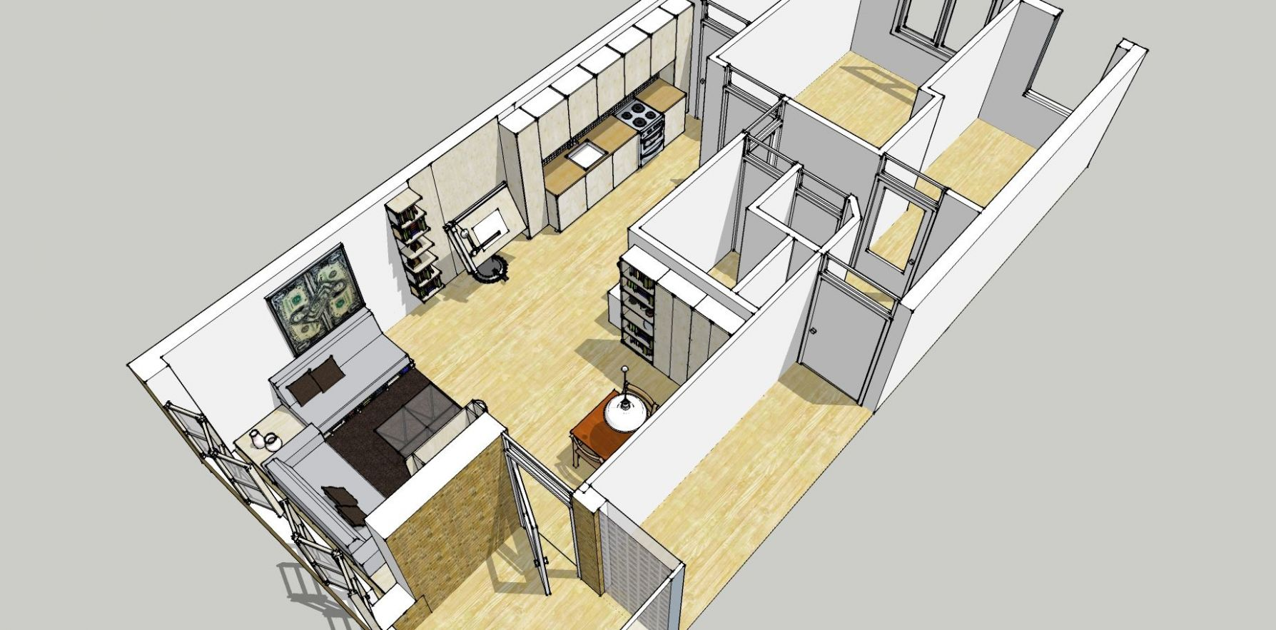 bird eye view of google sketchup plan for redecoration of my ...