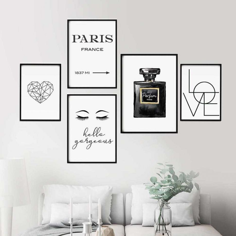 Black And White COCO Perfume Decor Makeup Wall Art Lashes Canvas ..