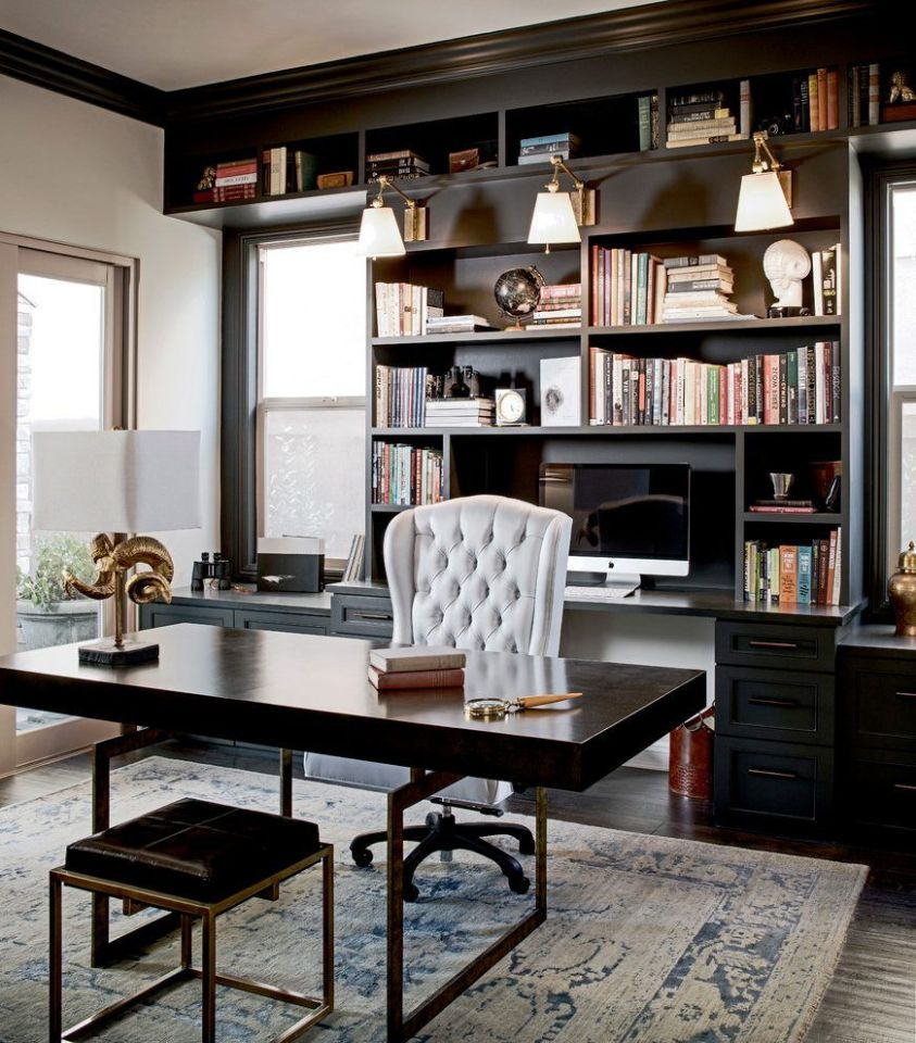 black built home office traditional with black office cabinets ..