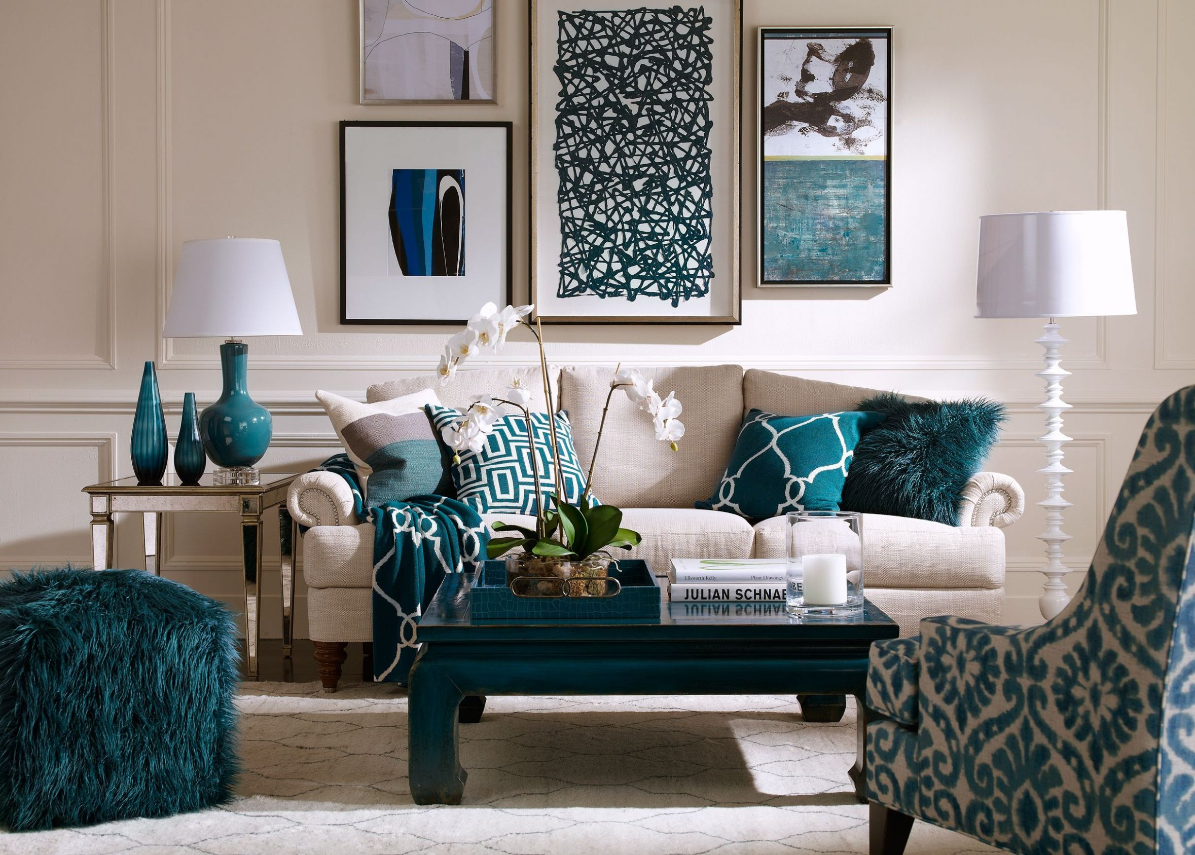 Blue Lagoon Living Room | Ethan Allen | Teal living rooms, Living ...