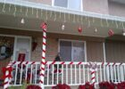 Candy cane theme Christmas decorations on my front porch ...