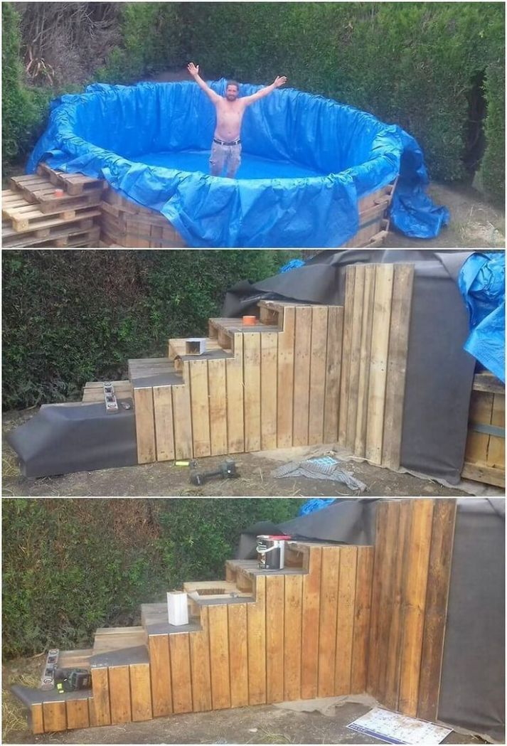 Cheap DIY Ideas with Recycled Wood Pallets | Diy swimming pool ...