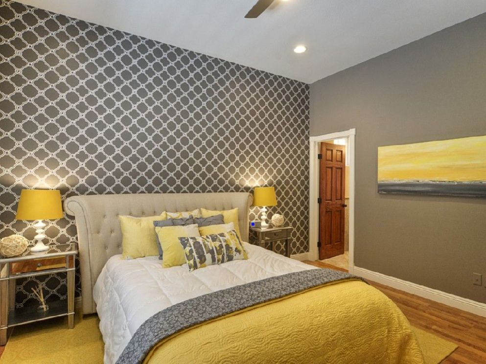 Chic yellow and grey bedroom. | Grey bedroom decor, Yellow bedroom ...