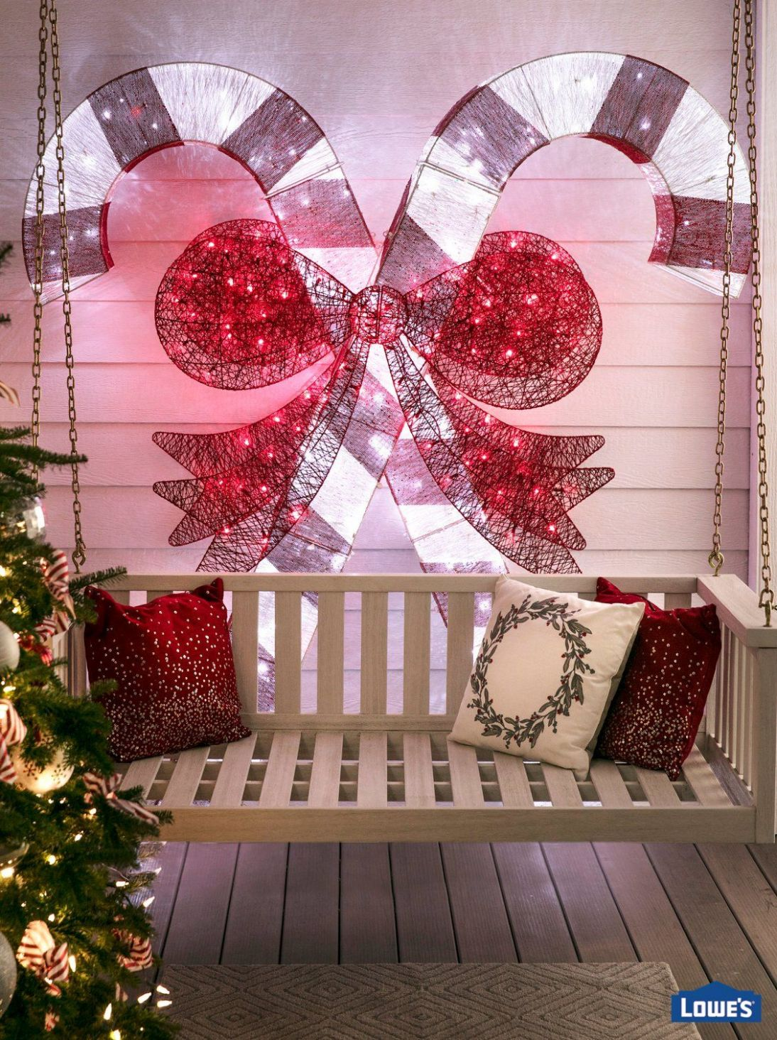 Christmas Décor for Front Porches | Multi colored christmas lights ...