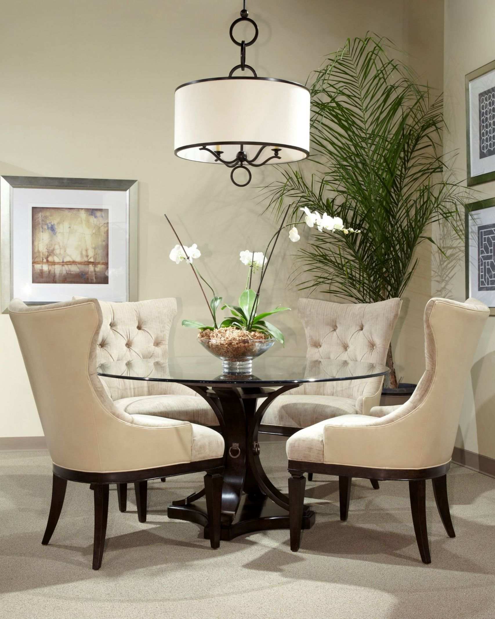 Classic Round Glass Top Dining Room Set (With images) | Round ...