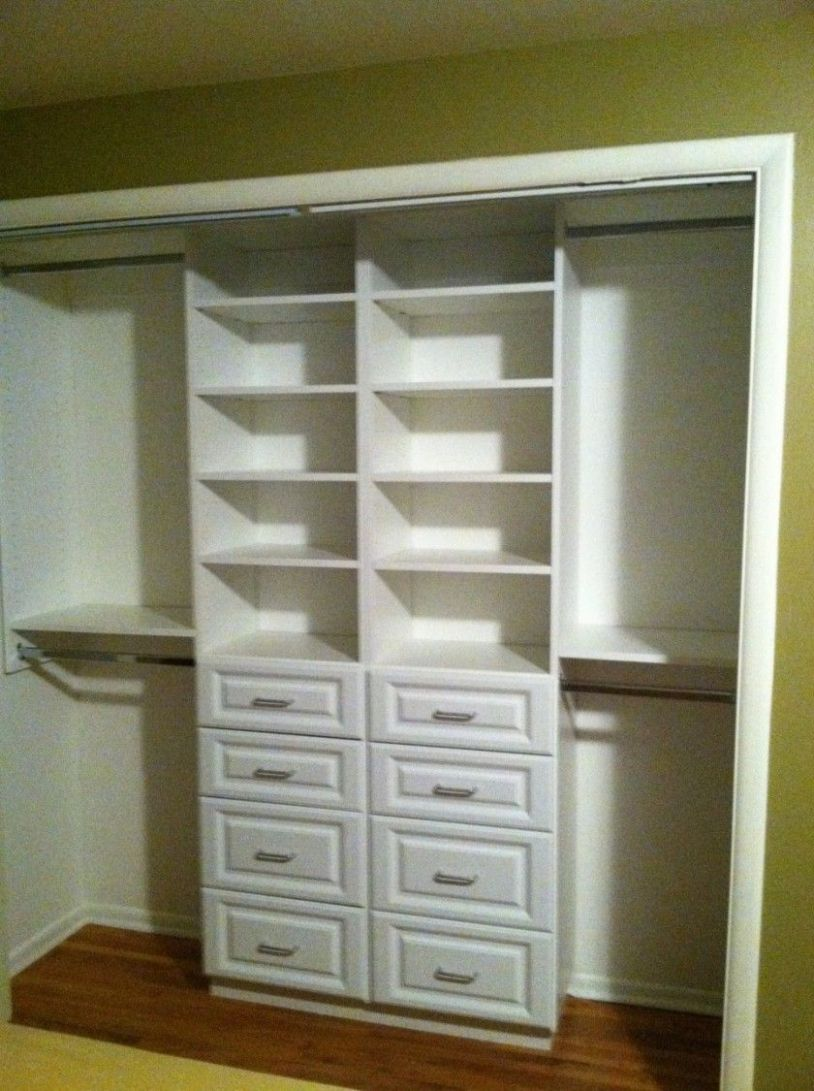 Compact White Small Closet Design With Drawer And Shelving Storage ..