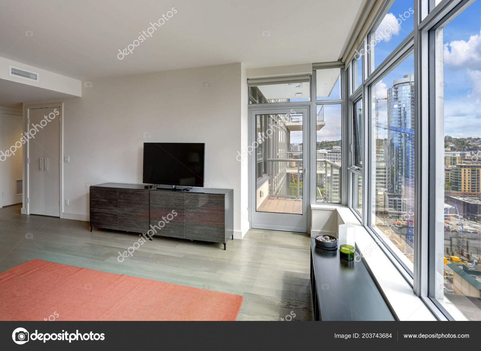 Contemporary Apartment Design Living Room Large Windows Balcony ...
