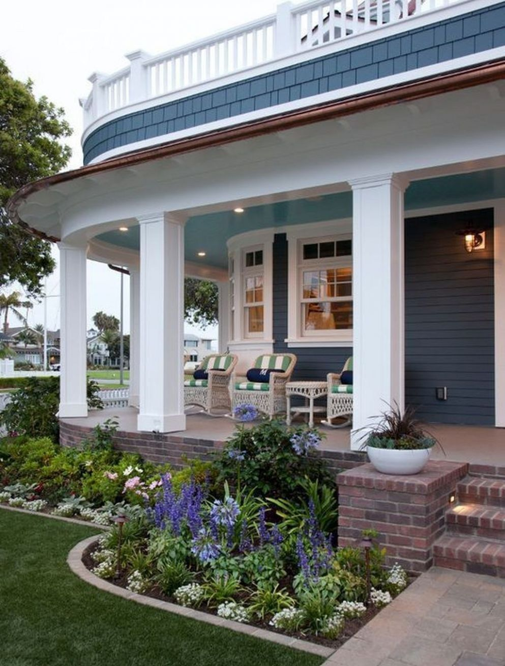Cool Front Yard Rock Garden Landscaping Ideas 11 | Front porch ...