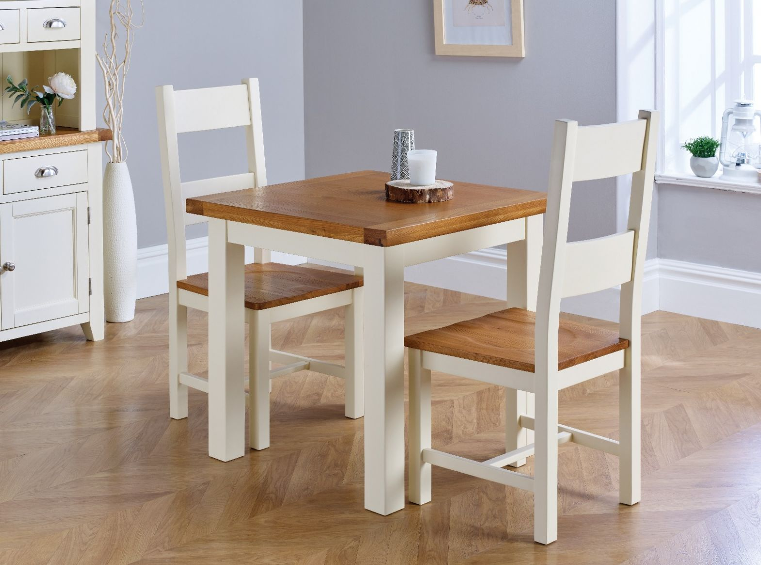 Country Oak Small 12cm Cream Painted Square Oak Dining Table / Desk -  SPRING SALE