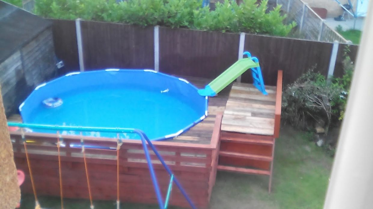Decking my pool in with pallets !!!!! only £8 total - YouTube - pool ideas with pallets