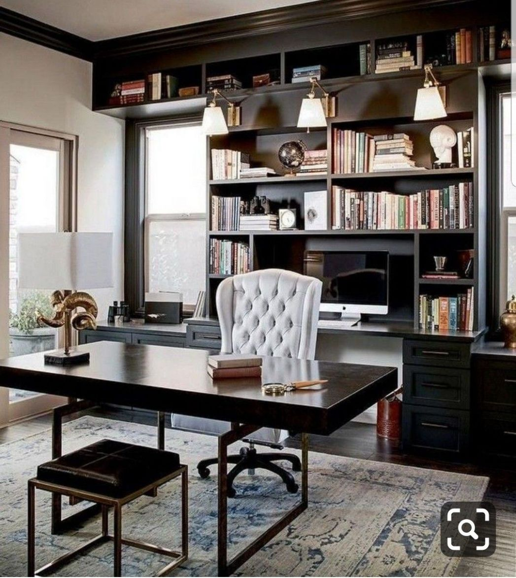 Definitely want dark wood built in's | Masculine home offices ...