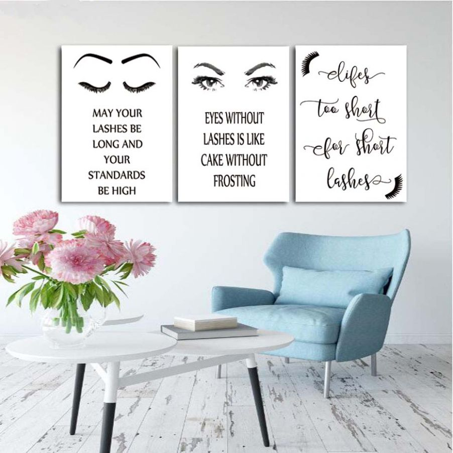 Details about Black And White Eyelashes Makeup Canvas Art Wall Prints  Posters Girls Room Decor - makeup room canvas