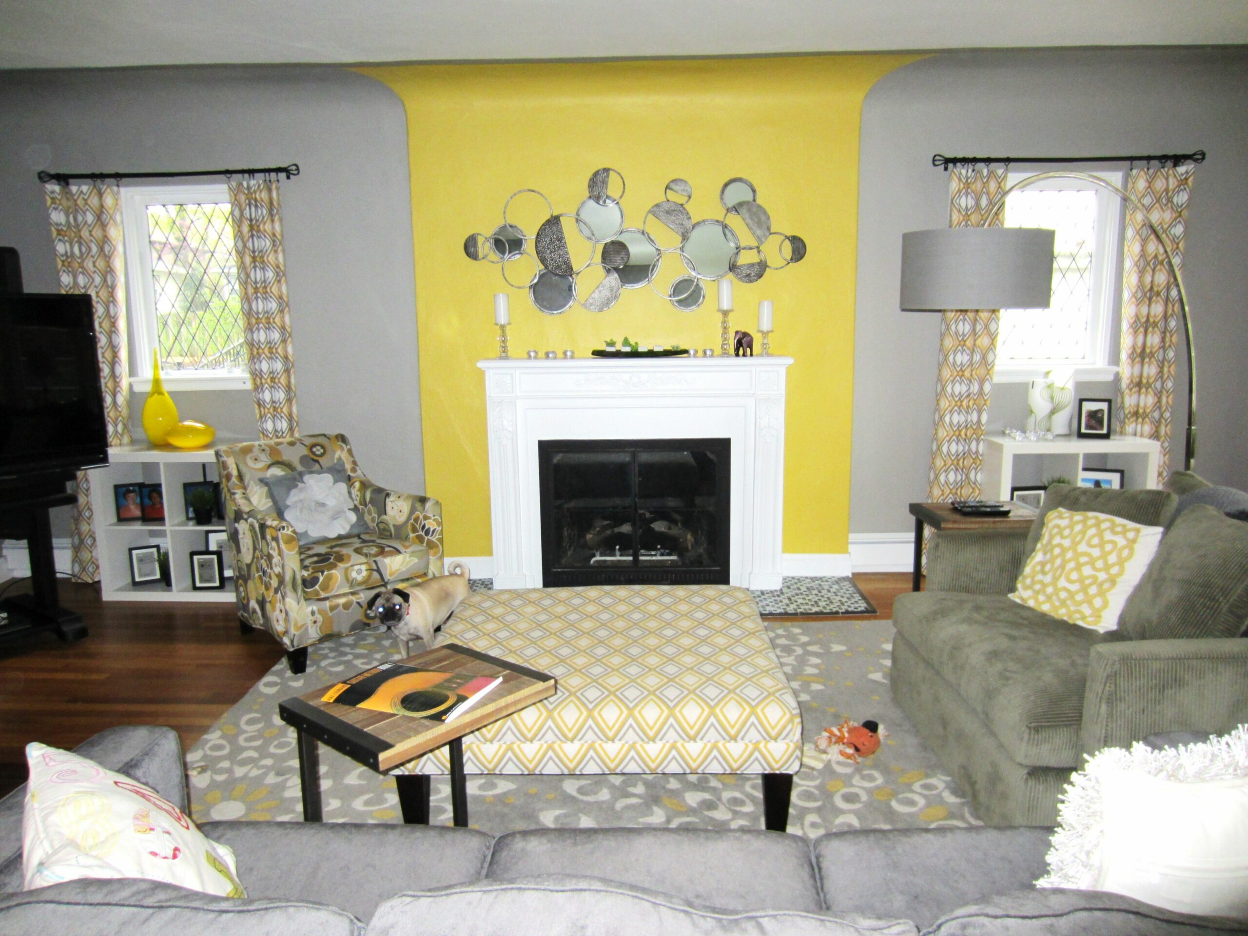 Dining Room Gray With Yellow Living Grey Walls Brown And White ...
